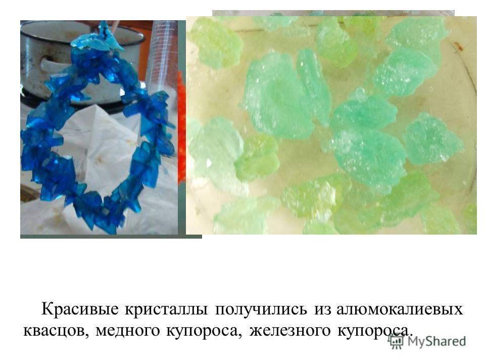 Красивые кристаллы получились из алюмокалиевых квасцов, медного купороса, железного купороса.