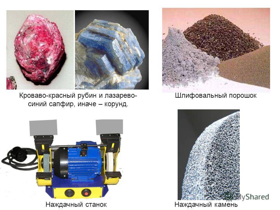 Шлифовальный порошокКроваво-красный рубин и лазарево- синий сапфир, иначе – корунд. Наждачный каменьНаждачный станок