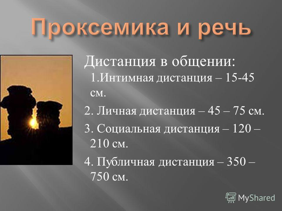 Дистанция в общении : 1. Интимная дистанция – 15-45 см. 2. Личная дистанция – 45 – 75 см. 3. Социальная дистанция – 120 – 210 см. 4. Публичная дистанция – 350 – 750 см.