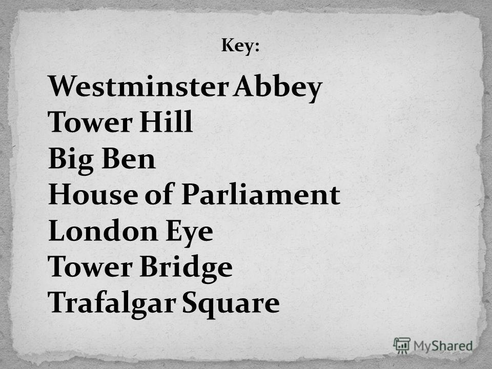 Key: Westminster Abbey Tower Hill Big Ben House of Parliament London Eye Tower Bridge Trafalgar Square