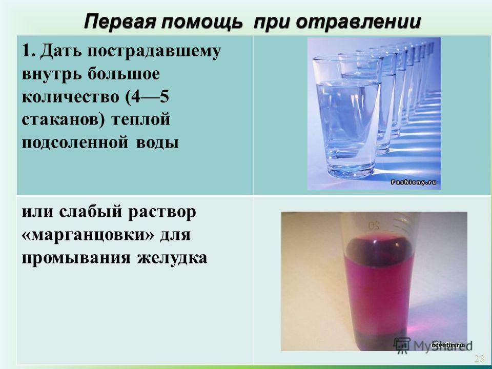 1. Дать пострадавшему внутрь большое количество (45 стаканов) теплой подсоленной воды или слабый раствор «марганцовки» для промывания желудка 28