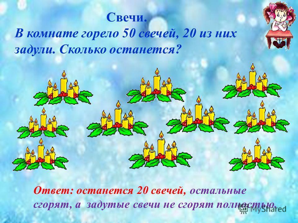 Свечи. В комнате горело 50 свечей, 20 из них задули. Сколько останется? Ответ: останется 20 свечей, остальные сгорят, а задутые свечи не сгорят полностью.