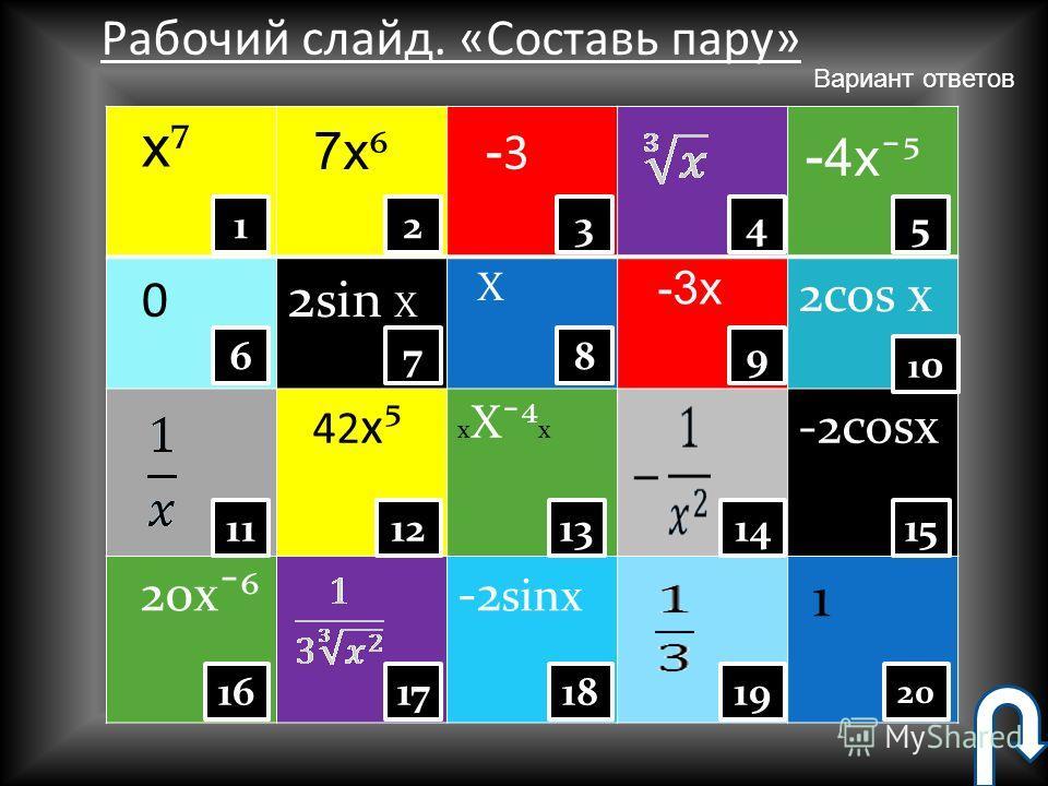 sin X - 3 x -3-sin X ax acos x 0 12 X 3 19 14 9 20 15 1010 5421 18 13 87 12 1716 11 6 x x 2x12 X ³ 5x Рабочий слайд. «Составь пару» Вариант ответов