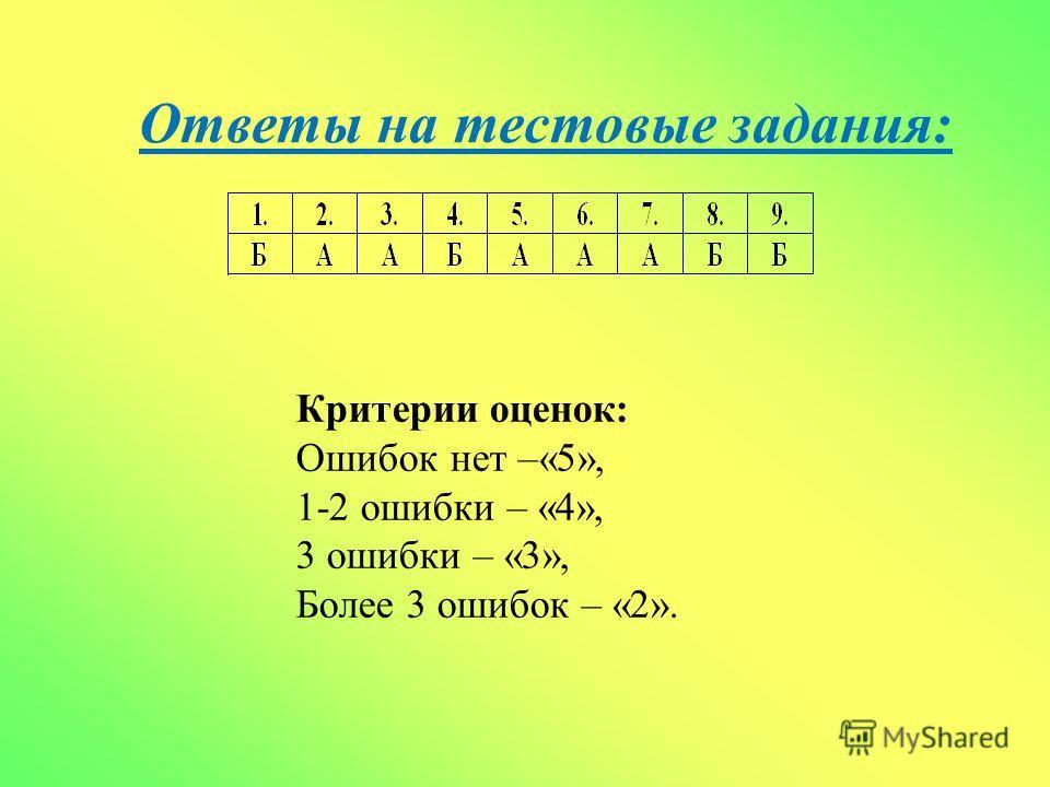 Ответы на тестовые задания: Критерии оценок: Ошибок нет –«5», 1-2 ошибки – «4», 3 ошибки – «3», Более 3 ошибок – «2».