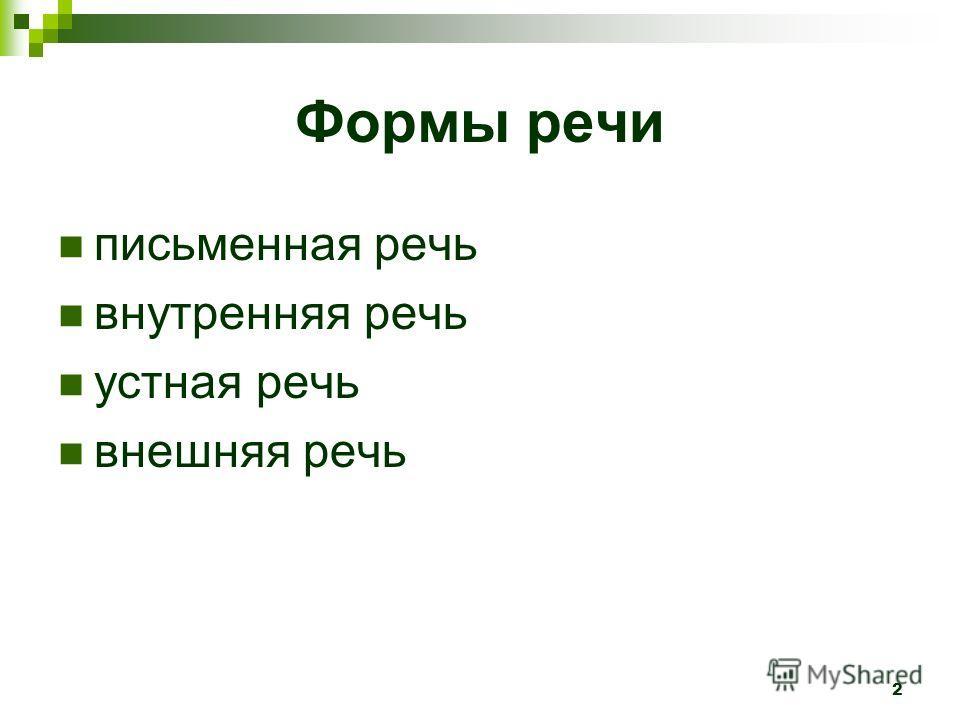 2 Формы речи письменная речь внутренняя речь устная речь внешняя речь