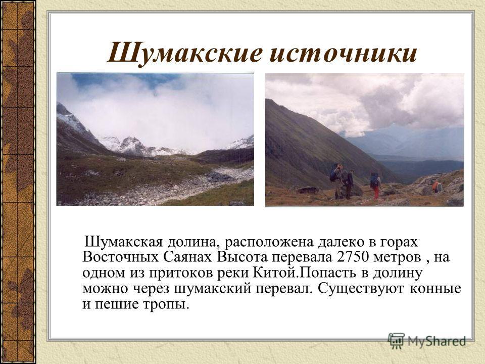 Шумакские источники Шумакская долина, расположена далеко в горах Восточных Саянах Высота перевала 2750 метров, на одном из притоков реки Китой.Попасть в долину можно через шумакский перевал. Существуют конные и пешие тропы.