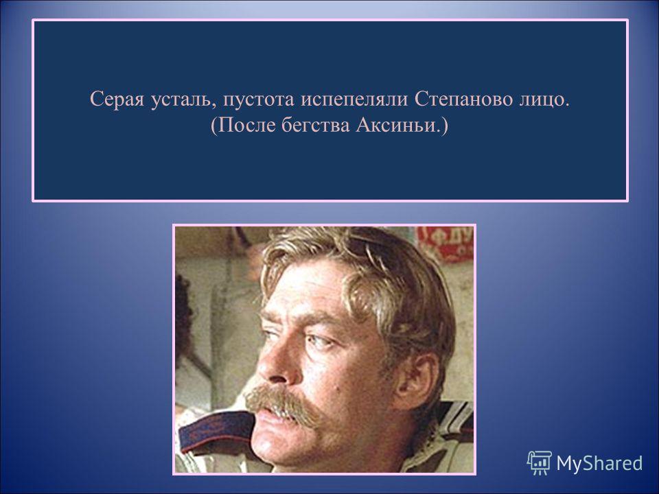 Серая усталь, пустота испепеляли Степаново лицо. (После бегства Аксиньи.)