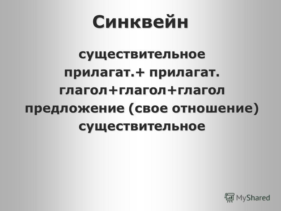 Синквейн существительное прилагат.+ прилагат. глагол+глагол+глагол предложение (свое отношение) существительное
