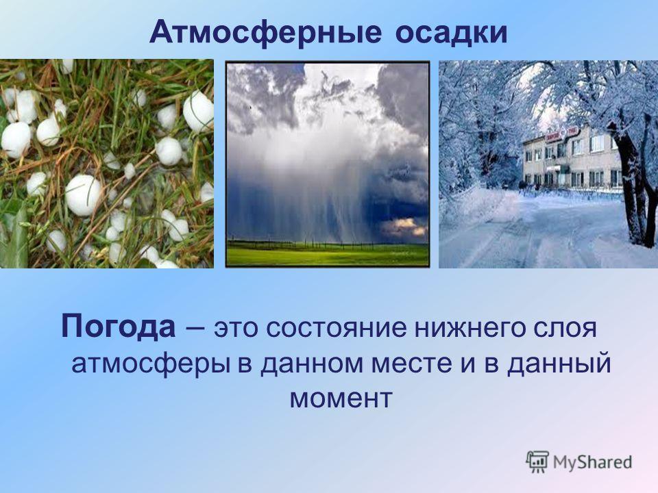 Атмосферные осадки Погода – это состояние нижнего слоя атмосферы в данном месте и в данный момент