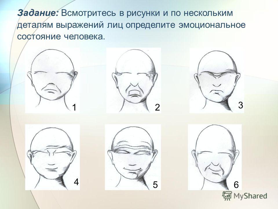 Задание: Всмотритесь в рисунки и по нескольким деталям выражений лиц определите эмоциональное состояние человека. 12 3 4 56