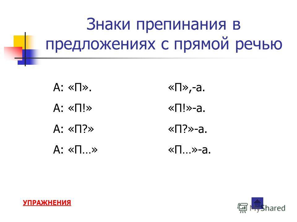 Знаки препинания в предложениях с прямой речью А: «П». А: «П!» А: «П?» А: «П…» «П»,-а. «П!»-а. «П?»-а. «П…»-а. УПРАЖНЕНИЯ
