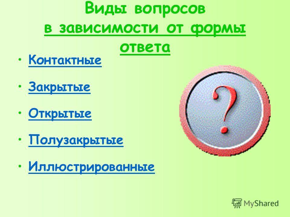 Виды вопросов в зависимости от формы ответа Контактные Закрытые Открытые Полузакрытые Иллюстрированные