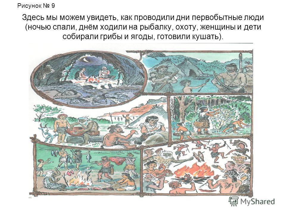 Здесь мы можем увидеть, как проводили дни первобытные люди (ночью спали, днём ходили на рыбалку, охоту, женщины и дети собирали грибы и ягоды, готовили кушать). Рисунок 9