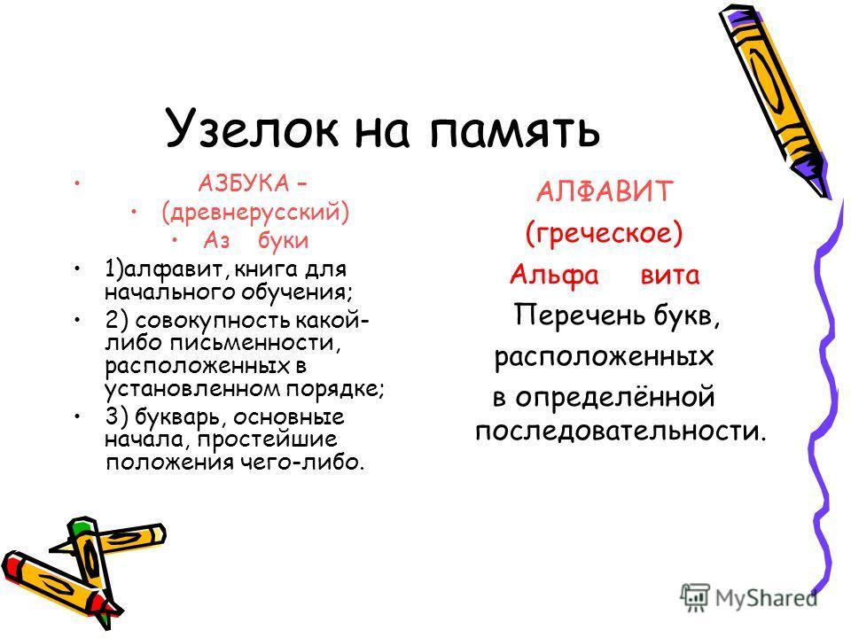 Узелок на память АЗБУКА – (древнерусский) Аз буки 1)алфавит, книга для начального обучения; 2) совокупность какой- либо письменности, расположенных в установленном порядке; 3) букварь, основные начала, простейшие положения чего-либо. АЛФАВИТ (греческ