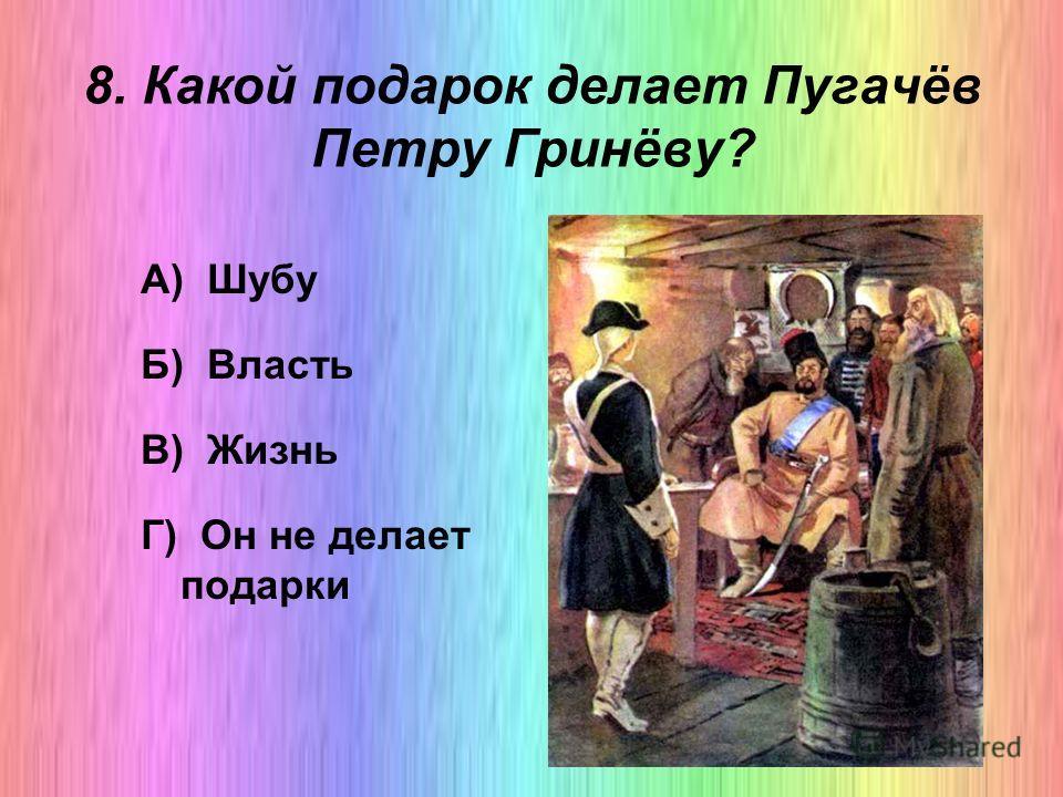 8. Какой подарок делает Пугачёв Петру Гринёву? А) Шубу Б) Власть В) Жизнь Г) Он не делает подарки