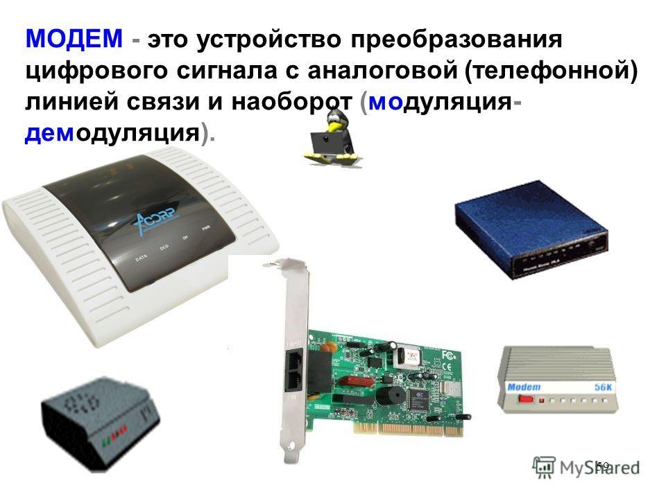 59 МОДЕМ - это устройство преобразования цифрового сигнала с аналоговой (телефонной) линией связи и наоборот (модуляция- демодуляция).