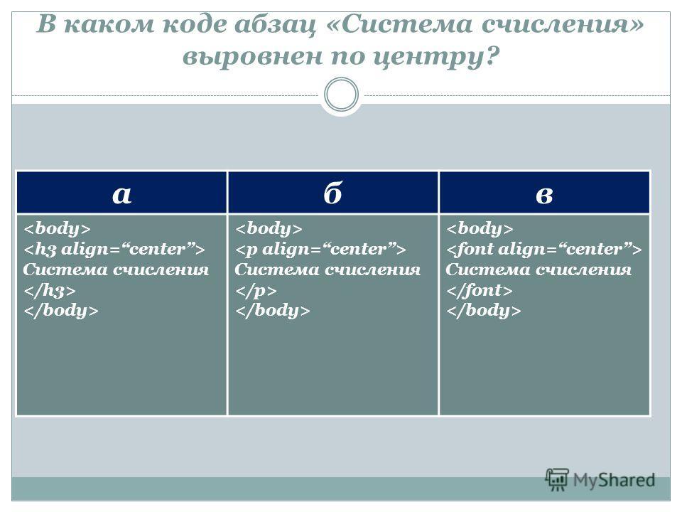 В каком коде абзац «Система счисления» выровнен по центру? абв Система счисления Система счисления Система счисления
