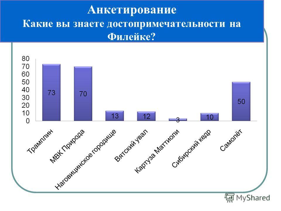 Анкетирование Какие вы знаете достопримечательности на Филейке?