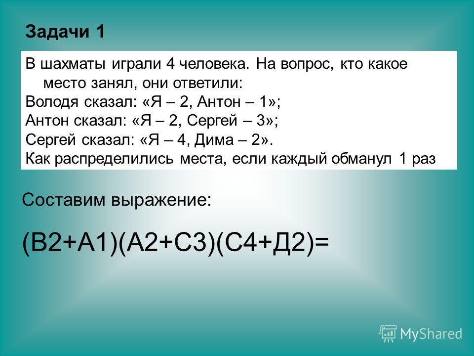 В шахматы играли 4 человека. На вопрос, кто какое место занял, они ответили: Володя сказал: «Я – 2, Антон – 1»; Антон сказал: «Я – 2, Сергей – 3»; Сергей сказал: «Я – 4, Дима – 2». Как распределились места, если каждый обманул 1 раз Задачи 1 Составим