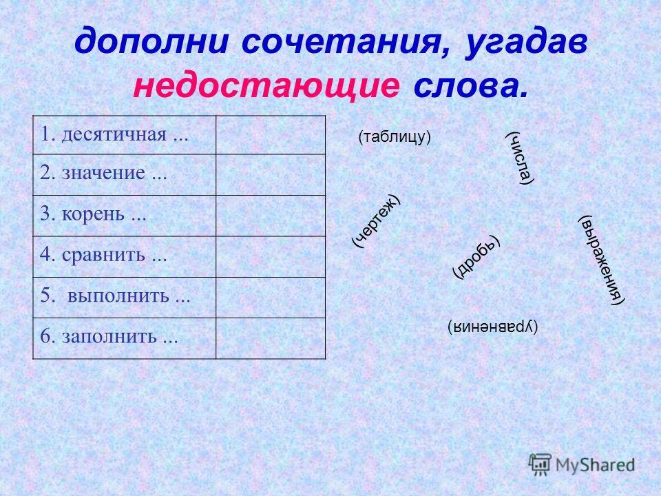дополни сочетания, угадав недостающие слова. 1. десятичная... 2. значение... 3. корень... 4. сравнить... 5. выполнить... 6. заполнить... (дробь) (выражения) (уравнения) (числа) (таблицу) (чертеж)