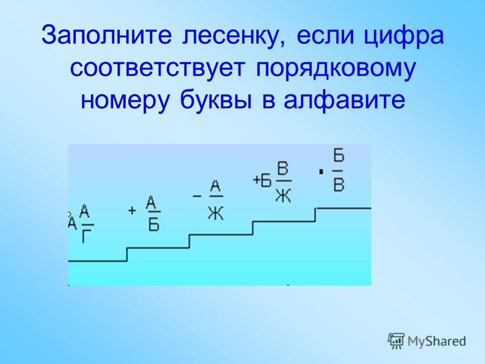 Заполните лесенку, если цифра соответствует порядковому номеру буквы в алфавите