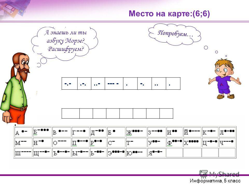 А знаешь ли ты азбуку Морзе? Расшифруем? Место на карте:(6;6) Попробуем… Информатика, 5 класс -.-.-...---- -.-....