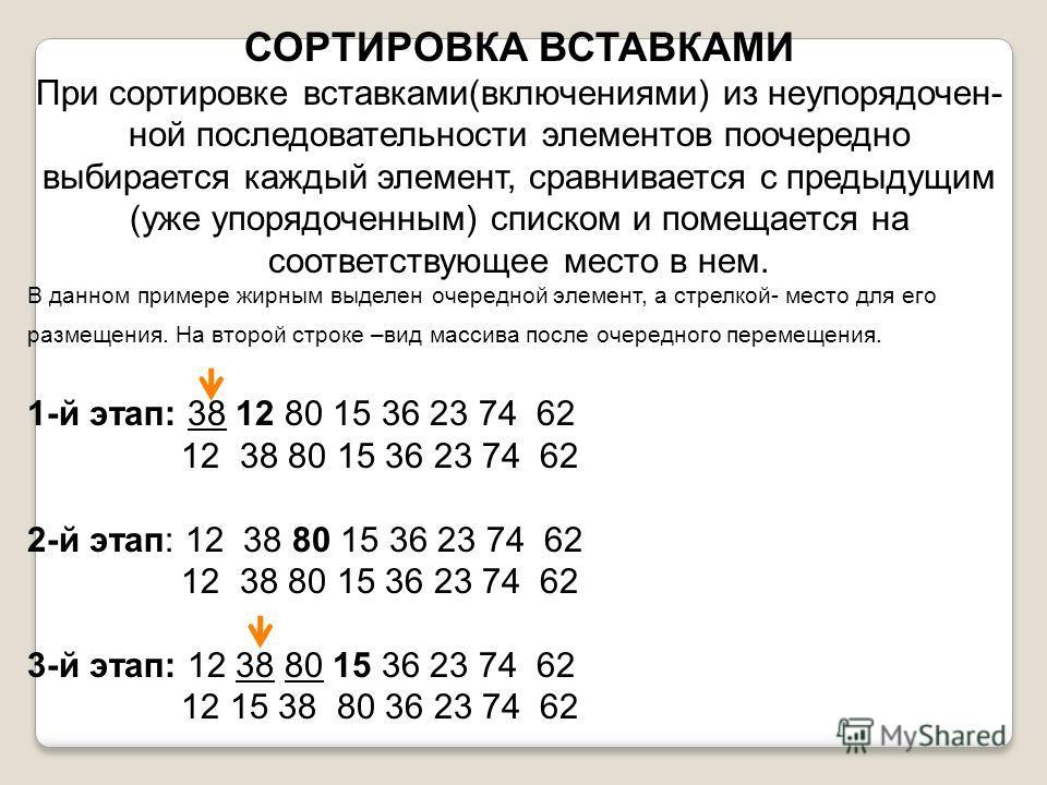 СОРТИРОВКА ВСТАВКАМИ При сортировке вставками(включениями) из неупорядочен- ной последовательности элементов поочередно выбирается каждый элемент, сравнивается с предыдущим (уже упорядоченным) списком и помещается на соответствующее место в нем. В да