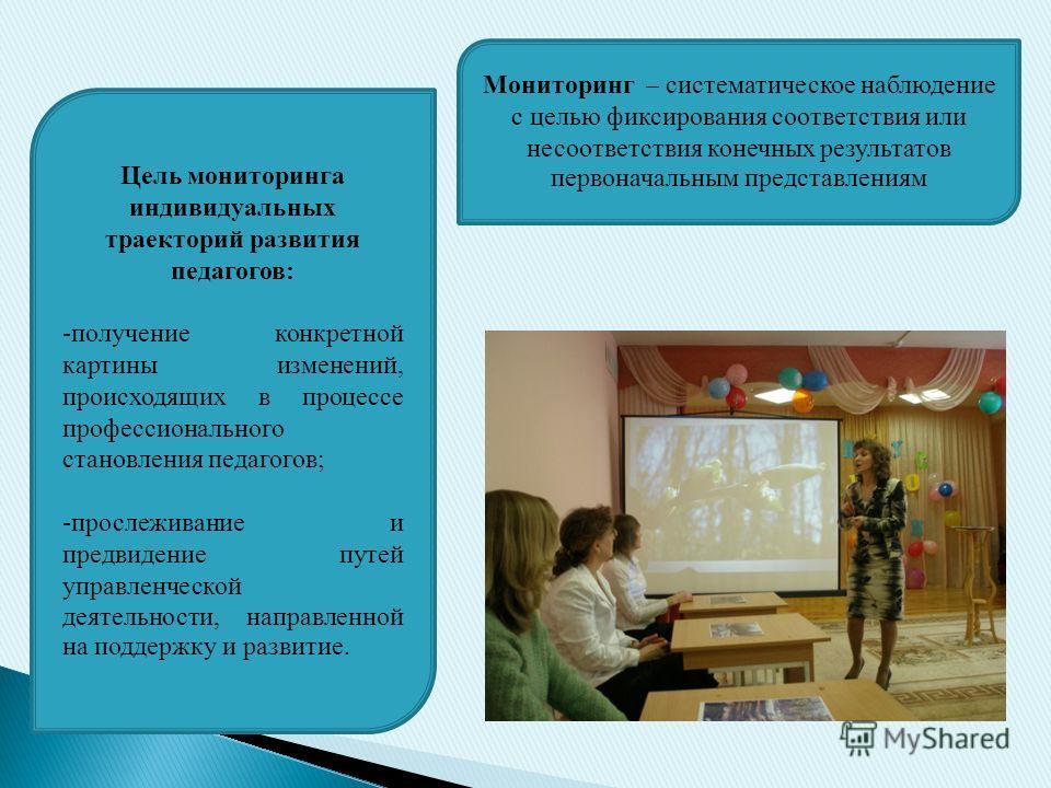 Цель мониторинга профессионального становления педагогов: - получение конкретной картины изменений, происходящих в процессе профессионального становления педагогов, - прослеживание и предвидение путей управленческой деятельности, направленной на подд