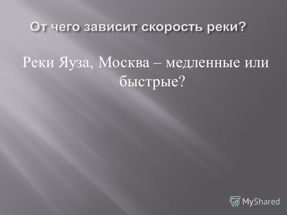 Реки Яуза, Москва – медленные или быстрые ?