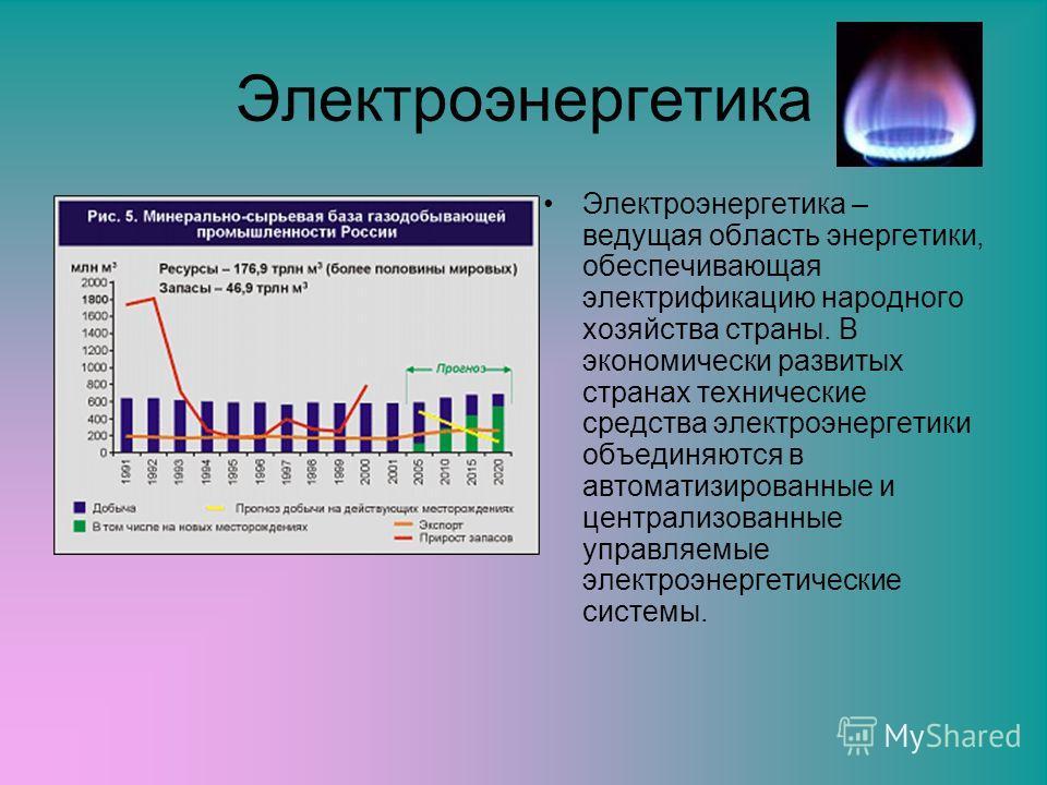 Электроэнергетика Электроэнергетика – ведущая область энергетики, обеспечивающая электрификацию народного хозяйства страны. В экономически развитых странах технические средства электроэнергетики объединяются в автоматизированные и централизованные уп