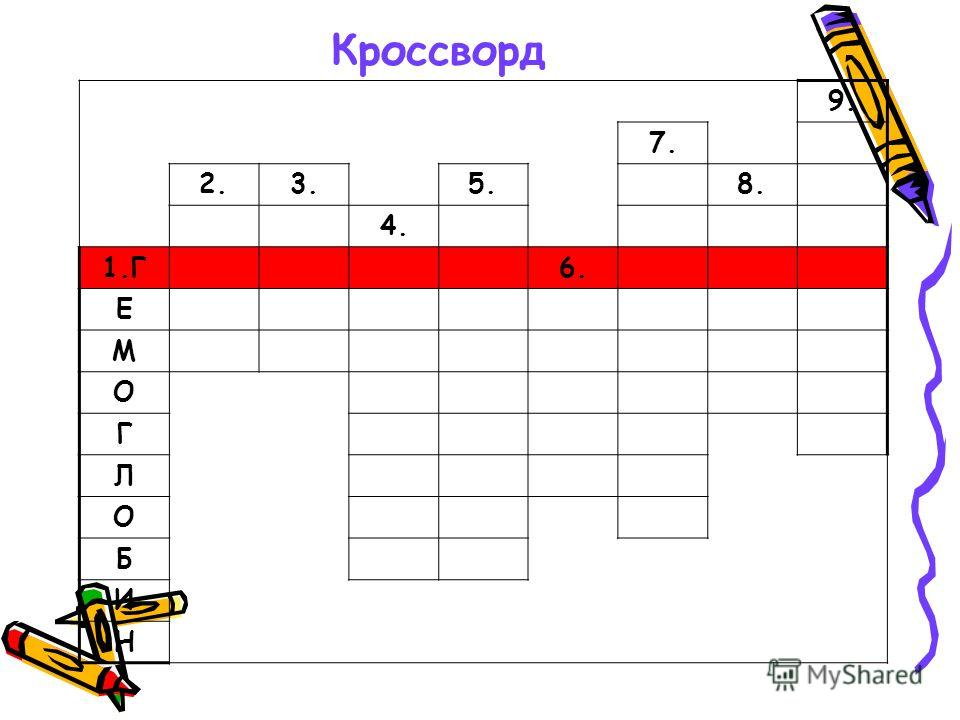 Кроссворд 9. 7. 2.3.5.8. 4. 1.Г6. Е М О Г Л О Б И Н