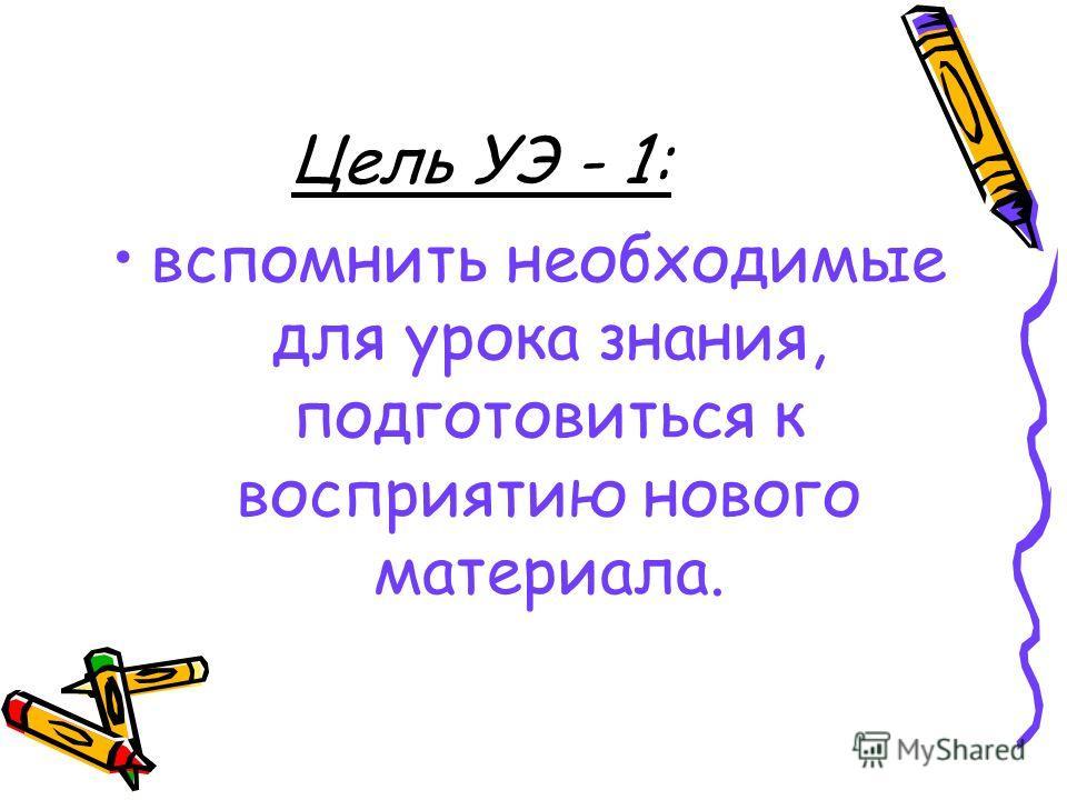 Цель УЭ - 1: вспомнить необходимые для урока знания, подготовиться к восприятию нового материала.