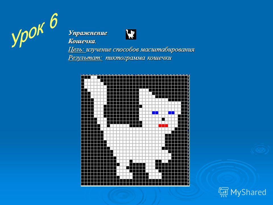 Упражнение Кошечка. Цель: изучение способов масштабирования Результат: пиктограмма кошечки