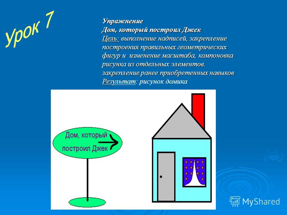 Упражнение Дом, который построил Джек Цель: выполнение надписей, закрепление построения правильных геометрических фигур и изменение масштаба, компоновка рисунка из отдельных элементов. закрепление ранее приобретенных навыков Результат: рисунок домика