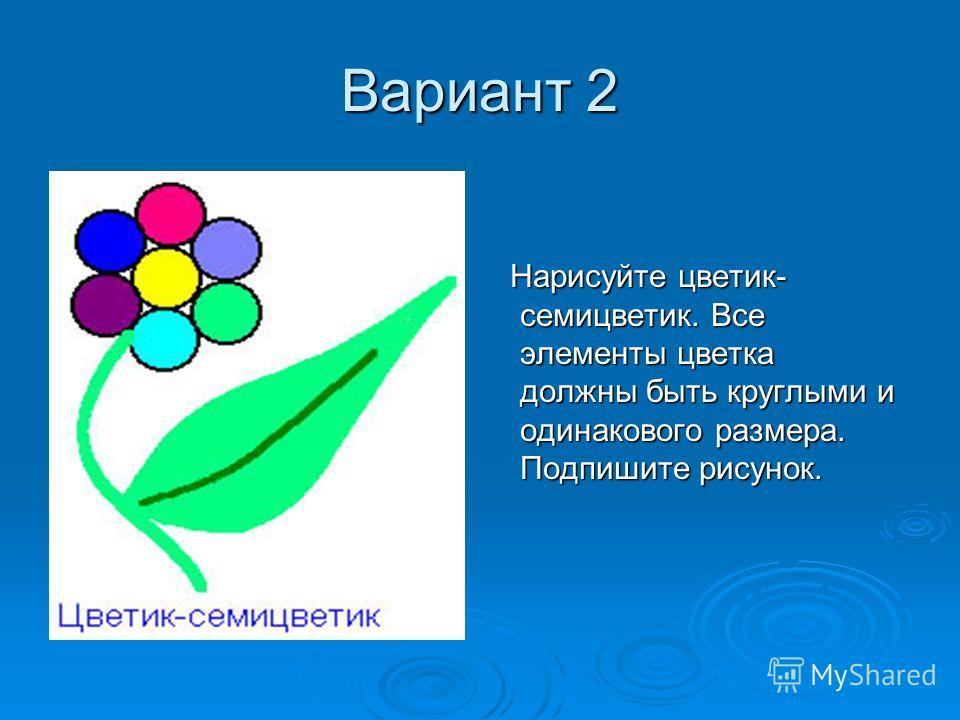 Вариант 2 Нарисуйте цветик- семицветик. Все элементы цветка должны быть круглыми и одинакового размера. Подпишите рисунок. Нарисуйте цветик- семицветик. Все элементы цветка должны быть круглыми и одинакового размера. Подпишите рисунок.