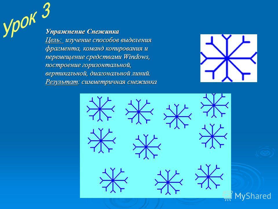 Упражнение Снежинка Цель: и и и изучение способов выделения фрагмента, команд копирования и перемещение средствами Windows, построение горизонтальной, вертикальной, диагональной линий. Результат: симметричная снежинка