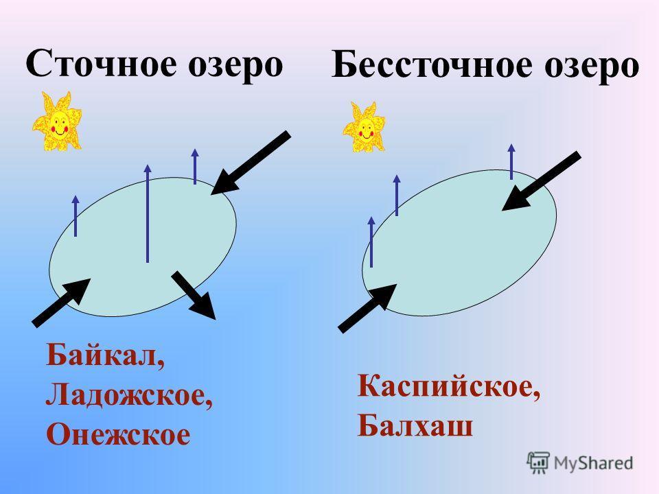 Сточное озеро Байкал, Ладожское, Онежское Каспийское, Балхаш Бессточное озеро