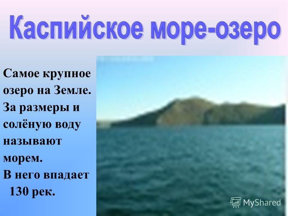 Самое крупное озеро на Земле. За размеры и солёную воду называют морем. В него впадает 130 рек.