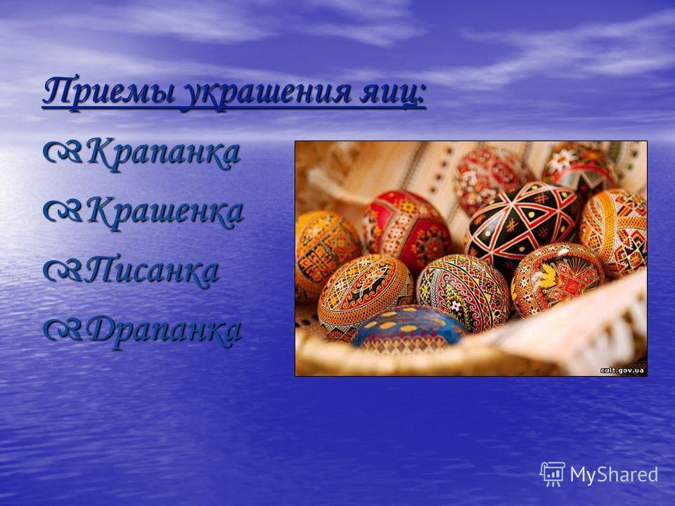 Приемы украшения яиц: Крапанка Крапанка Крашенка Крашенка Писанка Писанка Драпанка Драпанка