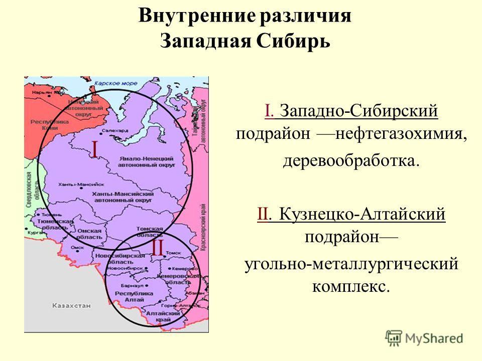I. Западно-Сибирский подрайон нефтегазохимия, деревообработка. II. Кузнецко-Алтайский подрайон угольно-металлургический комплекс. Внутренние различия Западная Сибирь