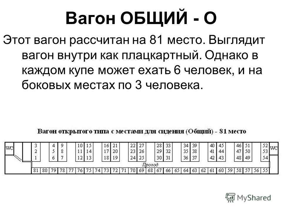 Вагон ОБЩИЙ - О Этот вагон рассчитан на 81 место. Выглядит вагон внутри как плацкартный. Однако в каждом купе может ехать 6 человек, и на боковых местах по 3 человека.