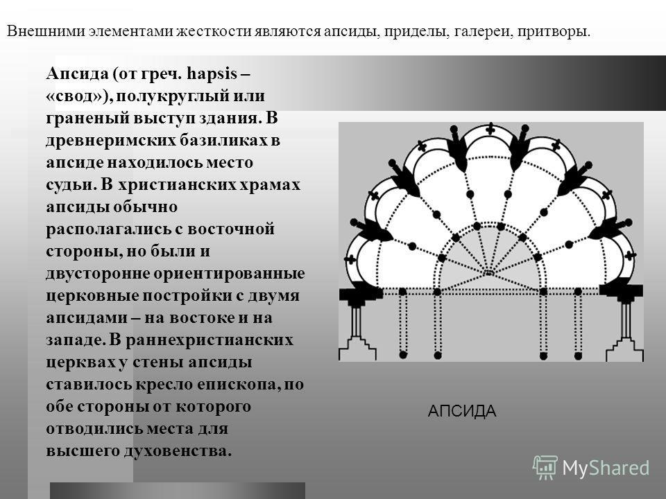 Апсида (от греч. hapsis – «свод»), полукруглый или граненый выступ здания. В древнеримских базиликах в апсиде находилось место судьи. В христианских храмах апсиды обычно располагались с восточной стороны, но были и двусторонне ориентированные церковн