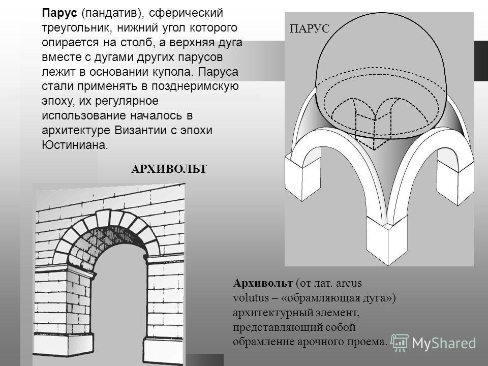 Парус (пандатив), сферический треугольник, нижний угол которого опирается на столб, а верхняя дуга вместе с дугами других парусов лежит в основании купола. Паруса стали применять в позднеримскую эпоху, их регулярное использование началось в архитекту