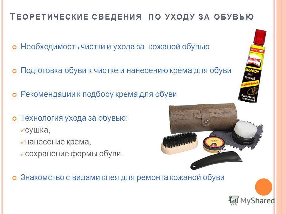 Т ЕОРЕТИЧЕСКИЕ СВЕДЕНИЯ ПО УХОДУ ЗА ОБУВЬЮ Необходимость чистки и ухода за кожаной обувью Подготовка обуви к чистке и нанесению крема для обуви Рекомендации к подбору крема для обуви Технология ухода за обувью: сушка, нанесение крема, сохранение форм
