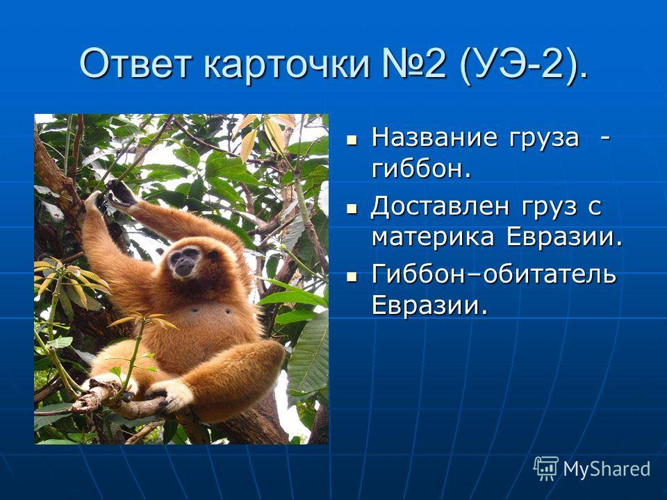 Ответ карточки 2 (УЭ-2). Название груза - гиббон. Название груза - гиббон. Доставлен груз с материка Евразии. Доставлен груз с материка Евразии. Гиббон–обитатель Евразии. Гиббон–обитатель Евразии.