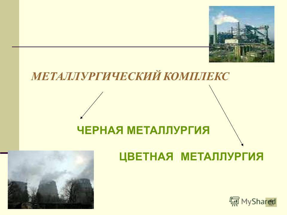 МЕТАЛЛУРГИЧЕСКИЙ КОМПЛЕКС ЧЕРНАЯ МЕТАЛЛУРГИЯ ЦВЕТНАЯ МЕТАЛЛУРГИЯ