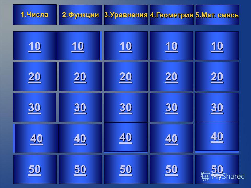 2 10 20 30 40 50 10 20 30 40 50 10 20 30 40 50 10 20202020 30 40 50 10 20 30 40 50 1.Числа 2.Функции 3.Уравнения 4.Геометрия 5.Мат. смесь 5.Мат. смесь