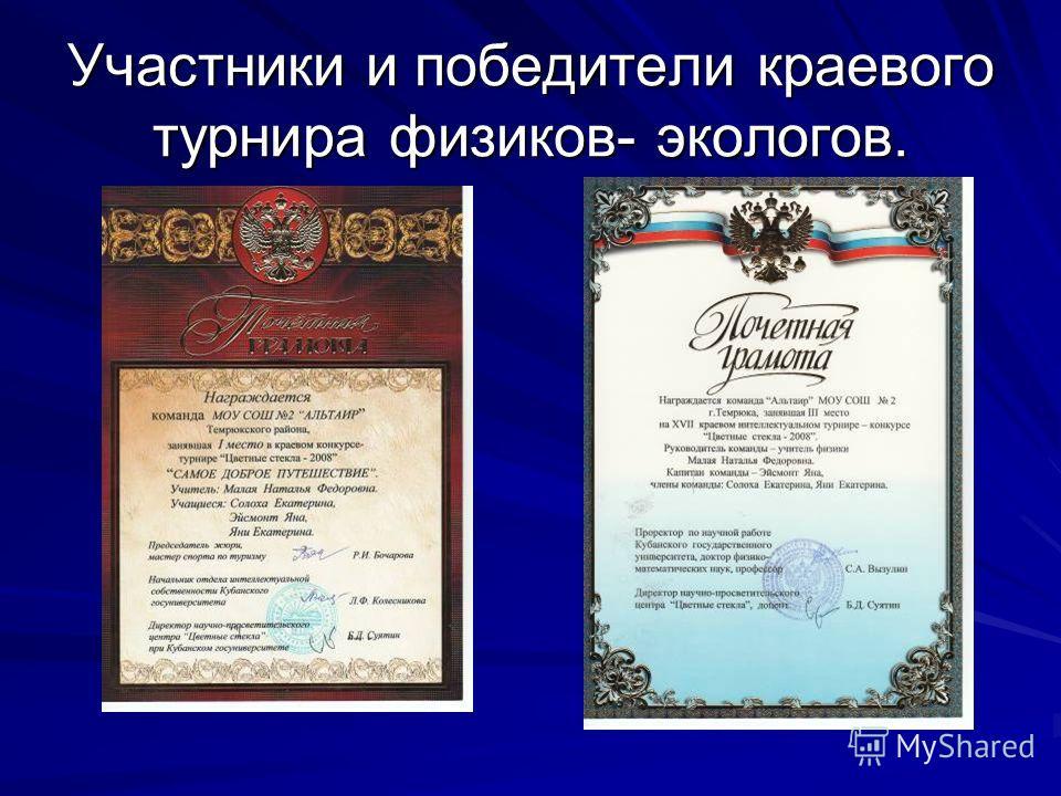 Участники и победители краевого турнира физиков- экологов.