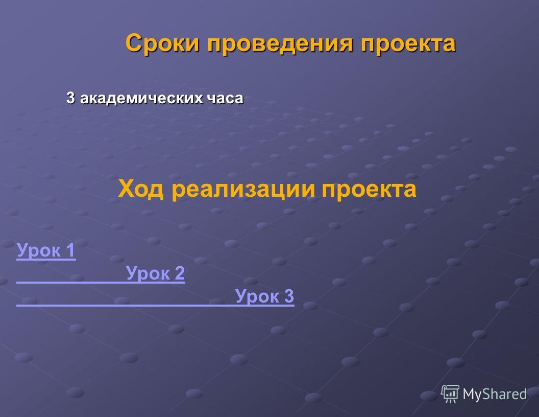 Сроки проведения проекта Ход реализации проекта Урок 1 Урок 2 Урок 3 3 академических часа