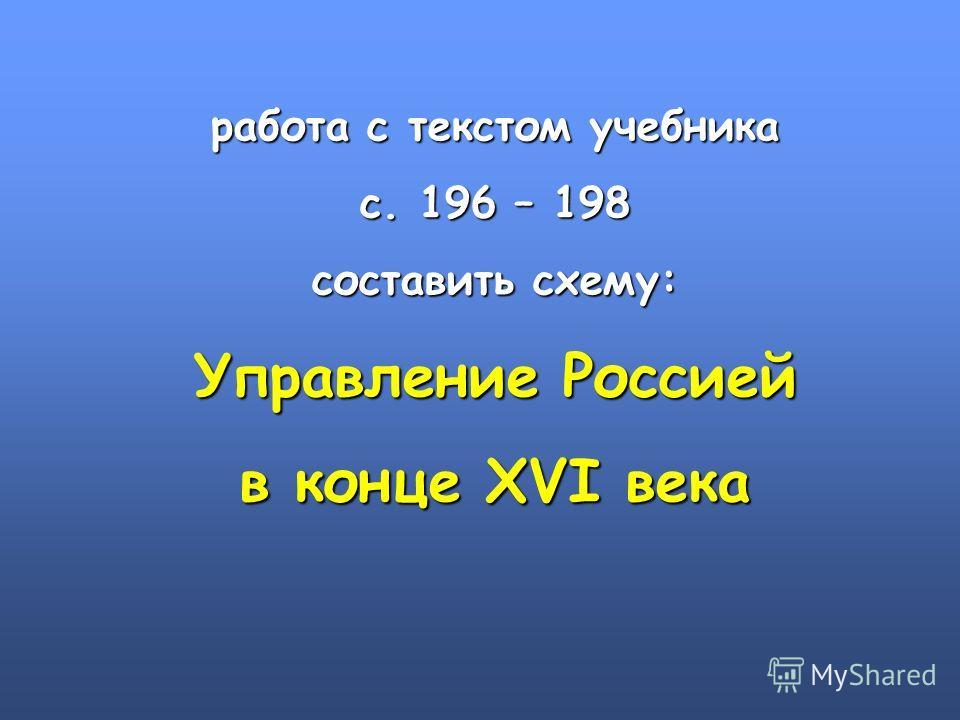 работа с текстом учебника с. 196 – 198 составить схему: Управление Россией в конце XVI века